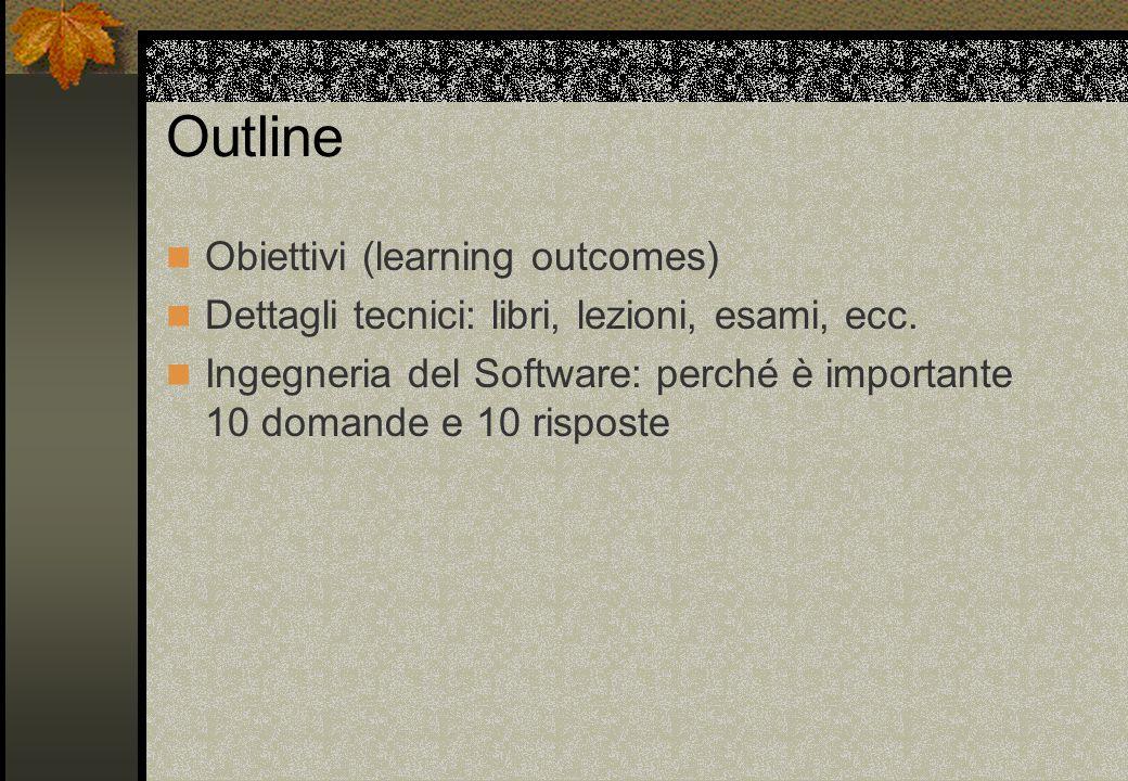 Outline Obiettivi (learning outcomes) Dettagli tecnici: libri, lezioni, esami, ecc.