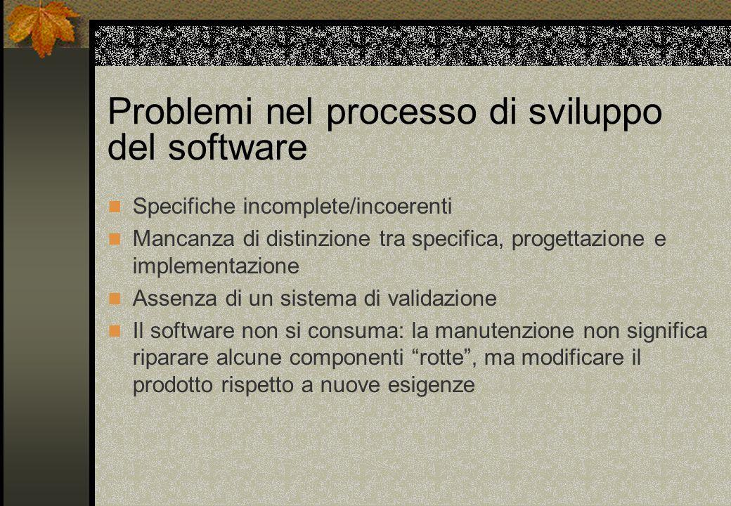 Problemi nel processo di sviluppo del software Specifiche incomplete/incoerenti Mancanza di distinzione tra specifica, progettazione e implementazione Assenza di un sistema di validazione Il software non si consuma: la manutenzione non significa riparare alcune componenti rotte , ma modificare il prodotto rispetto a nuove esigenze
