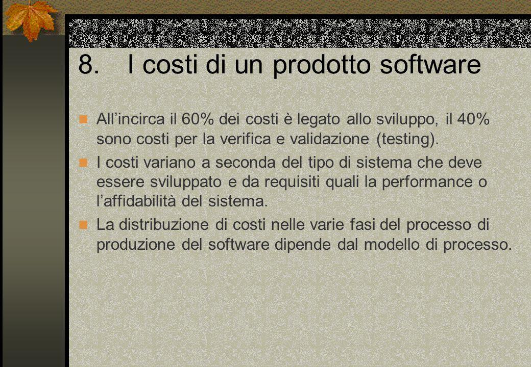 8.I costi di un prodotto software All'incirca il 60% dei costi è legato allo sviluppo, il 40% sono costi per la verifica e validazione (testing).