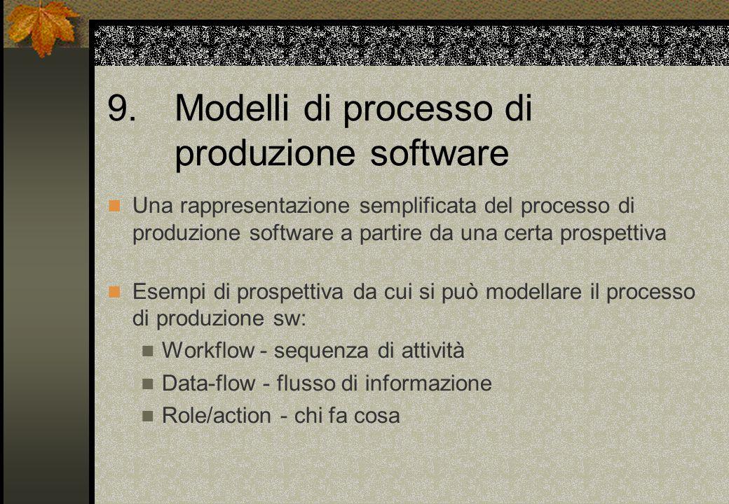 9. Modelli di processo di produzione software Una rappresentazione semplificata del processo di produzione software a partire da una certa prospettiva