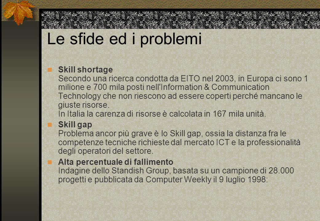 Le sfide ed i problemi Skill shortage Secondo una ricerca condotta da EITO nel 2003, in Europa ci sono 1 milione e 700 mila posti nell Information & Communication Technology che non riescono ad essere coperti perché mancano le giuste risorse.
