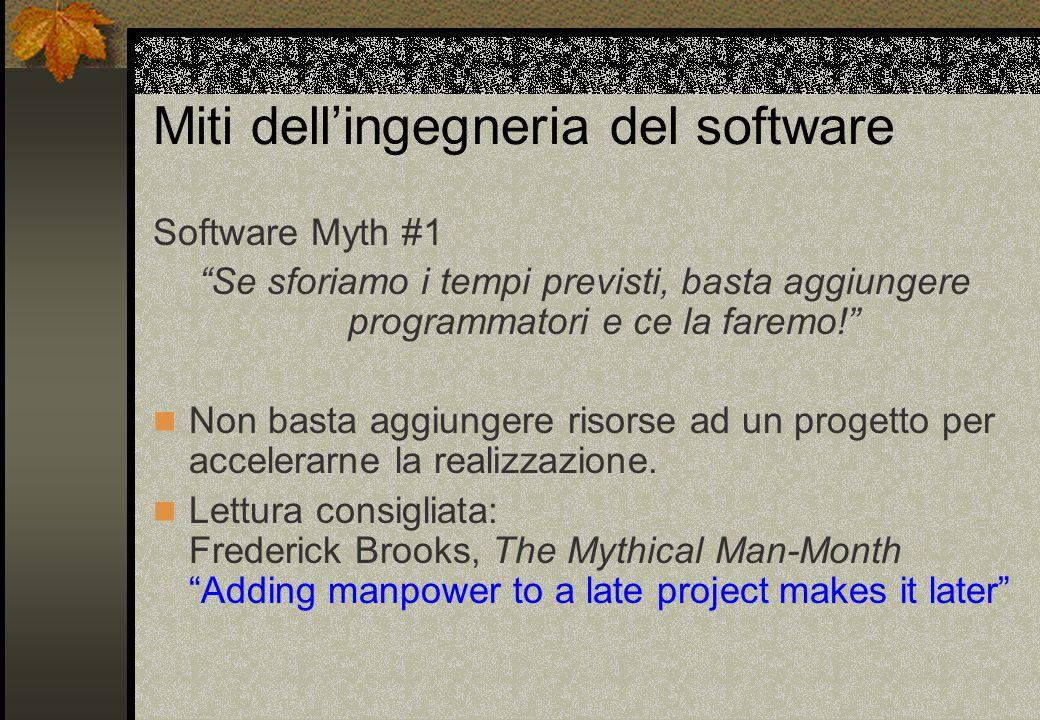 Miti dell'ingegneria del software Software Myth #1 Se sforiamo i tempi previsti, basta aggiungere programmatori e ce la faremo! Non basta aggiungere risorse ad un progetto per accelerarne la realizzazione.