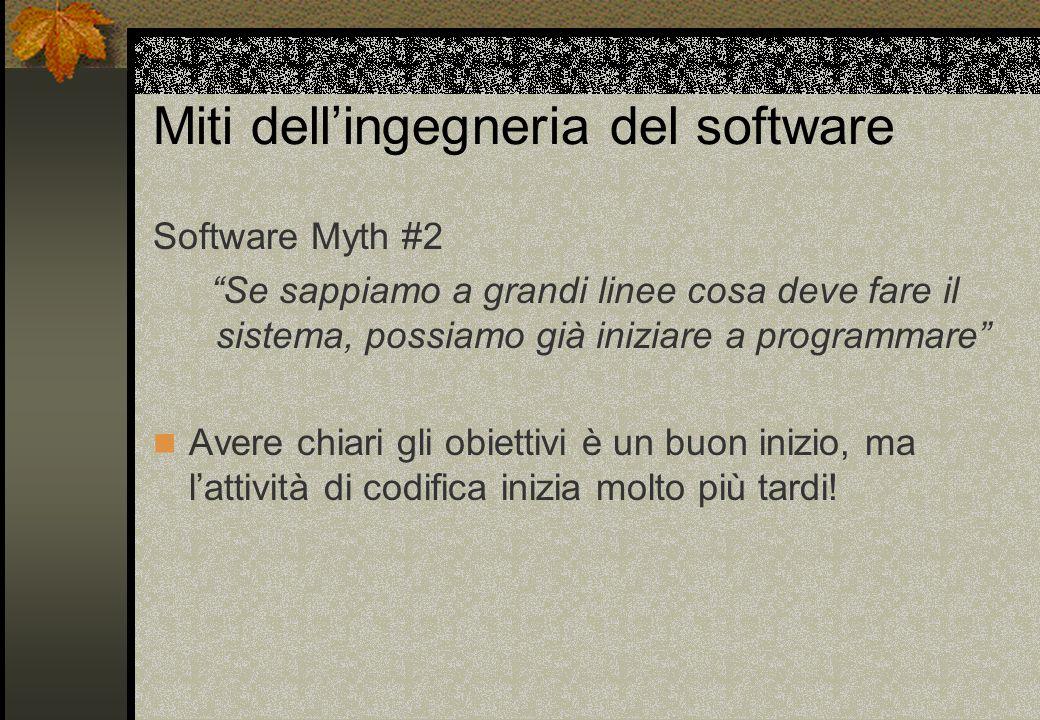Miti dell'ingegneria del software Software Myth #2 Se sappiamo a grandi linee cosa deve fare il sistema, possiamo già iniziare a programmare Avere chiari gli obiettivi è un buon inizio, ma l'attività di codifica inizia molto più tardi!