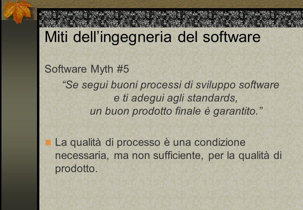Miti dell'ingegneria del software Software Myth #5 Se segui buoni processi di sviluppo software e ti adegui agli standards, un buon prodotto finale è garantito. La qualità di processo è una condizione necessaria, ma non sufficiente, per la qualità di prodotto.