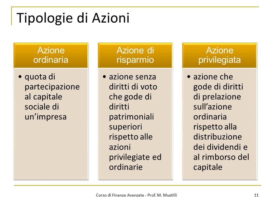 11 Tipologie di Azioni Corso di Finanza Avanzata - Prof. M. Mustilli Azione ordinaria quota di partecipazione al capitale sociale di un'impresa Azione