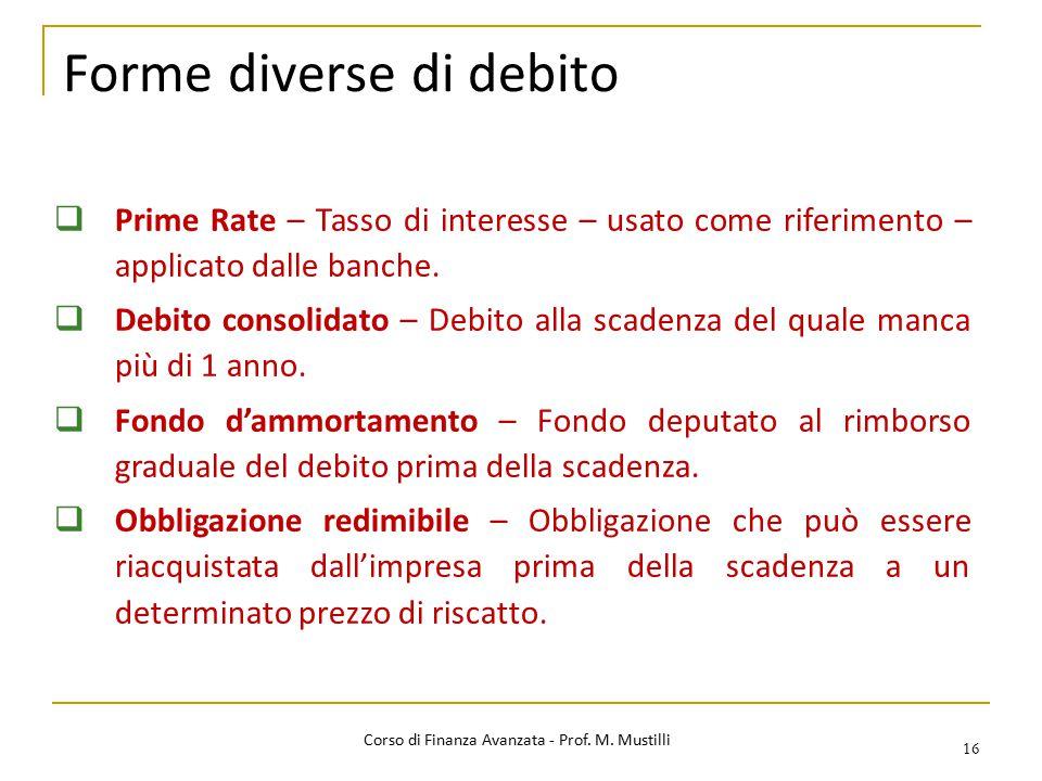 Forme diverse di debito 16  Prime Rate – Tasso di interesse – usato come riferimento – applicato dalle banche.  Debito consolidato – Debito alla sca