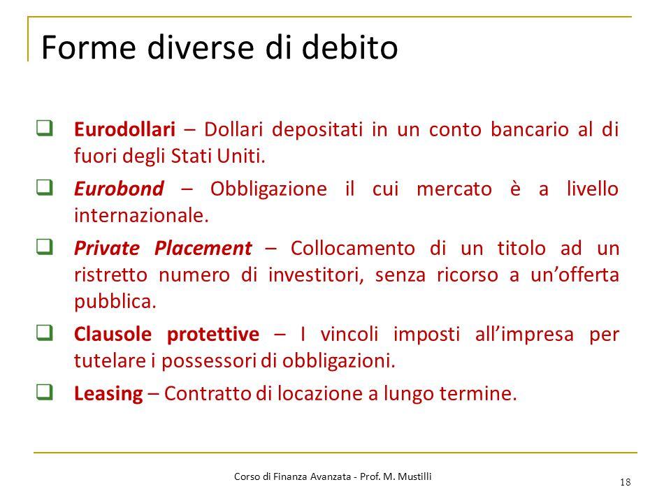 Forme diverse di debito 18  Eurodollari – Dollari depositati in un conto bancario al di fuori degli Stati Uniti.  Eurobond – Obbligazione il cui mer