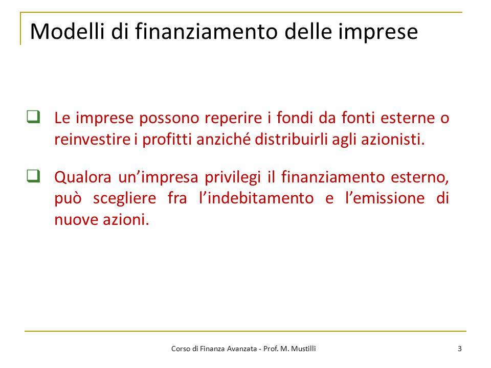 Modelli di finanziamento delle imprese 3  Le imprese possono reperire i fondi da fonti esterne o reinvestire i profitti anziché distribuirli agli azi