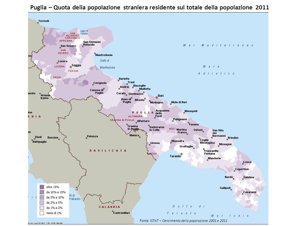 Puglia – Quota della popolazione straniera residente sul totale della popolazione 2011 Fonte: ISTAT – Censimento della popolazione 2001 e 2011