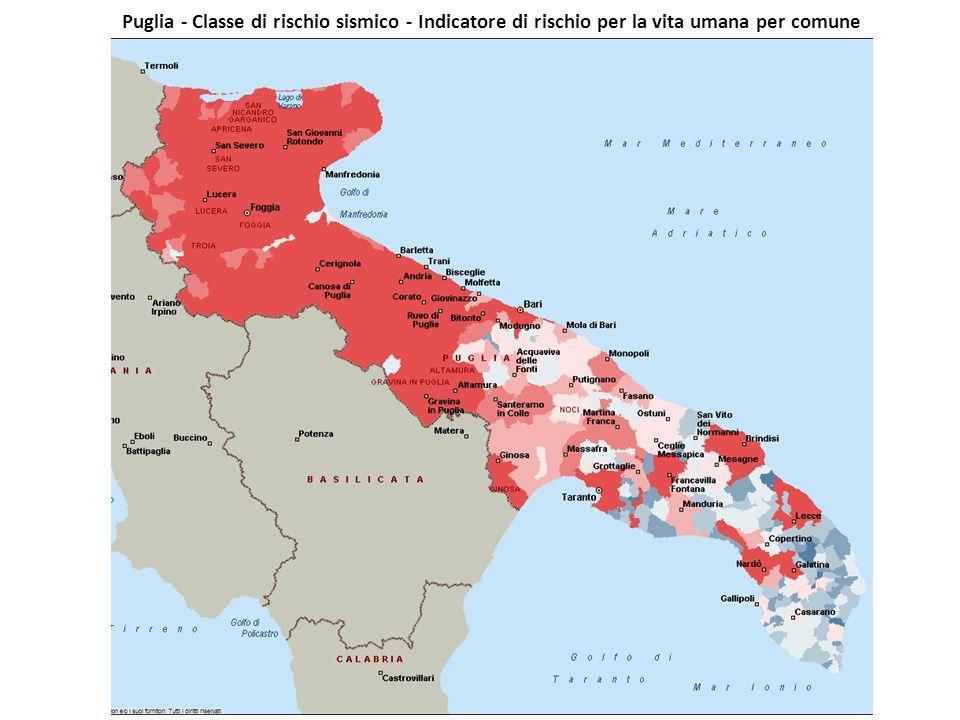 Puglia - Classe di rischio sismico - Indicatore di rischio per la vita umana per comune (Fonte: Dipartimento Protezione Civile)