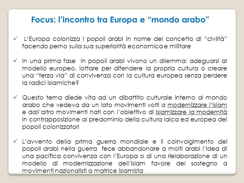 """Focus: l'incontro tra Europa e """"mondo arabo"""" L'Europa colonizza i popoli arabi in nome del concetto di """"civiltà"""" facendo perno sulla sua superiorità e"""