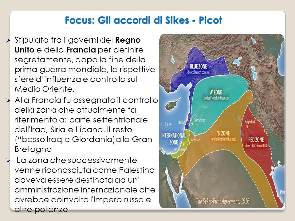 Focus: Gli accordi di Sikes - Picot Focus: Gli accordi di Sikes - Picot  Stipulato fra i governi del Regno Unito e della Francia per definire segreta