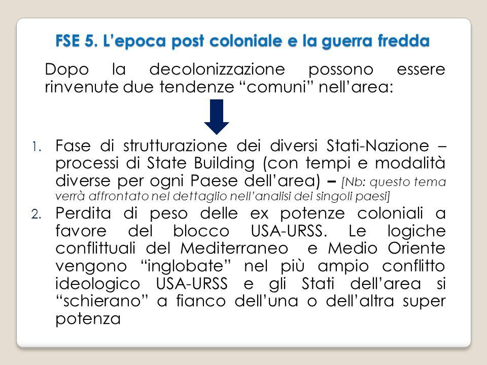 """FSE 5. L'epoca post coloniale e la guerra fredda Dopo la decolonizzazione possono essere rinvenute due tendenze """"comuni"""" nell'area: 1. Fase di struttu"""