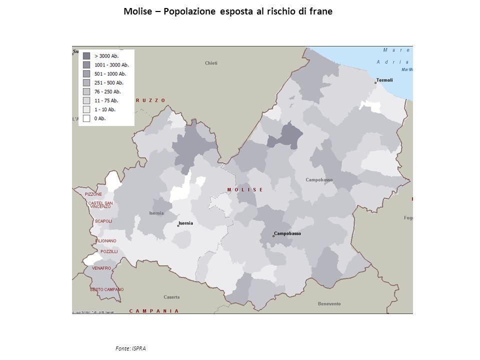 Molise – Popolazione esposta al rischio di frane Fonte: ISPRA