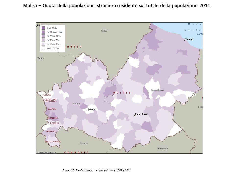 Molise – Quota della popolazione straniera residente sul totale della popolazione 2011 Fonte: ISTAT – Censimento della popolazione 2001 e 2011