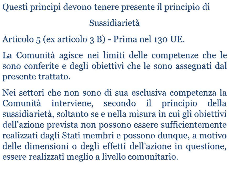 Questi principi devono tenere presente il principio di Sussidiarietà Articolo 5 (ex articolo 3 B) - Prima nel 130 UE. La Comunità agisce nei limiti de