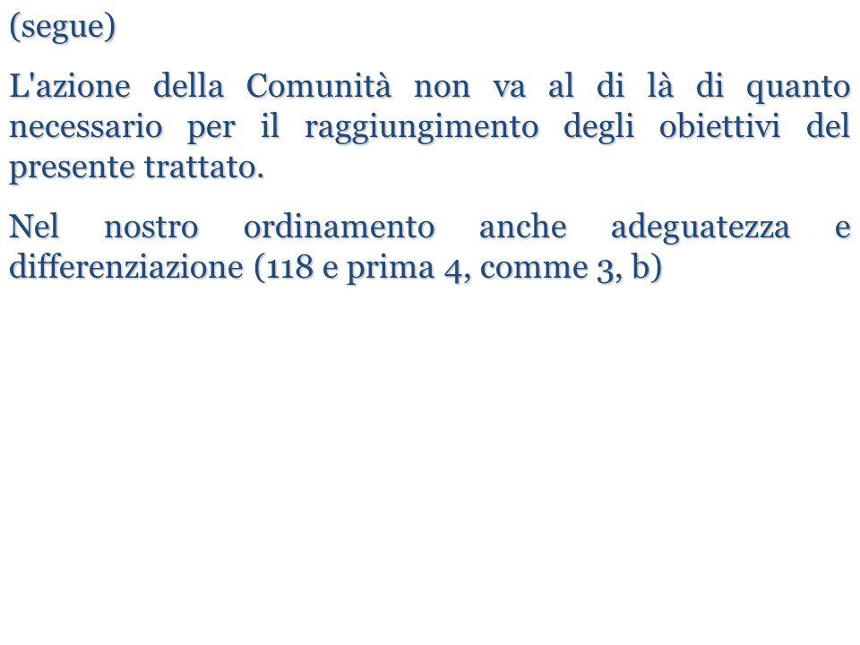 (segue) L'azione della Comunità non va al di là di quanto necessario per il raggiungimento degli obiettivi del presente trattato. Nel nostro ordinamen