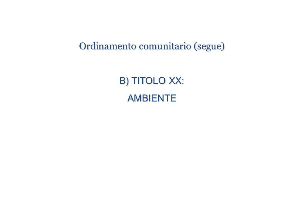 Ordinamento comunitario (segue) B) TITOLO XX: AMBIENTE