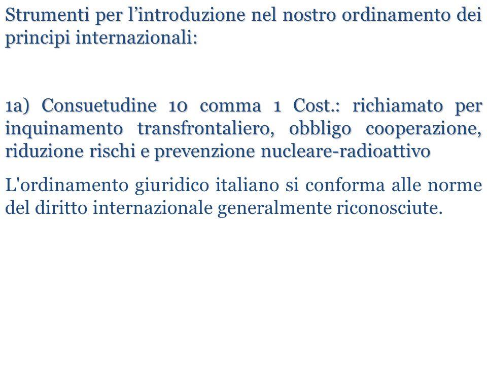 Strumenti per l'introduzione nel nostro ordinamento dei principi internazionali: 1a) Consuetudine 10 comma 1 Cost.: richiamato per inquinamento transf