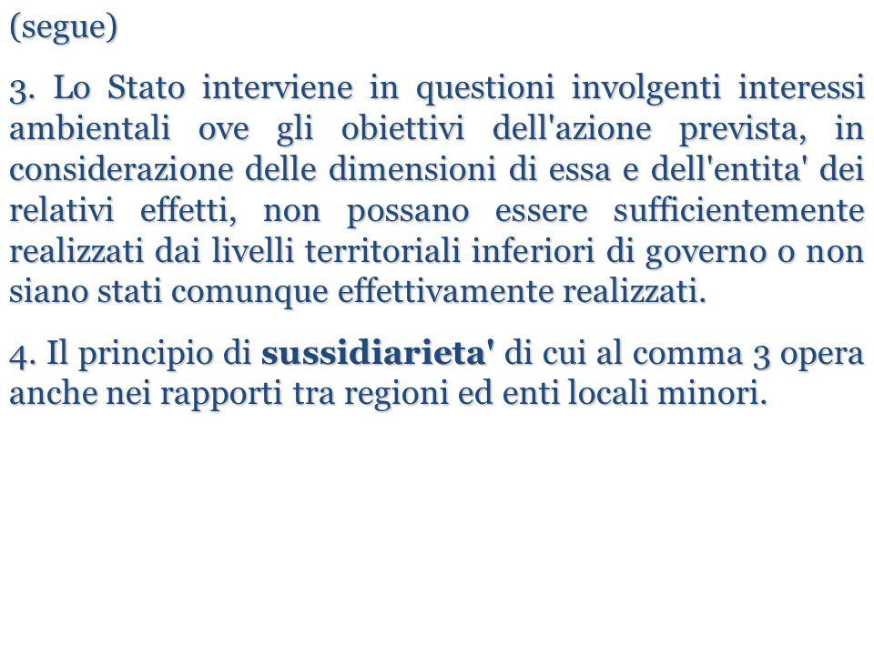 (segue) 3. Lo Stato interviene in questioni involgenti interessi ambientali ove gli obiettivi dell'azione prevista, in considerazione delle dimensioni