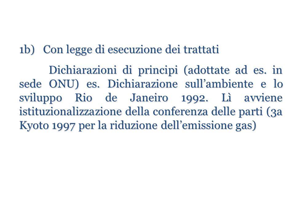 1b) Con legge di esecuzione dei trattati Dichiarazioni di principi (adottate ad es. in sede ONU) es. Dichiarazione sull'ambiente e lo sviluppo Rio de