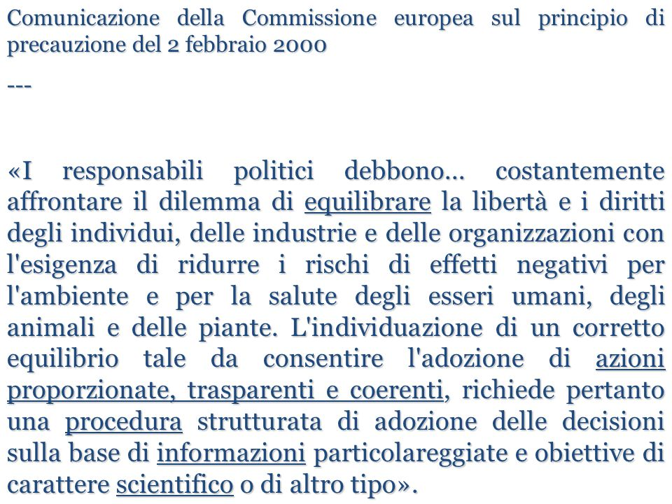 Comunicazione della Commissione europea sul principio di precauzione del 2 febbraio 2000 --- «I responsabili politici debbono... costantemente affront