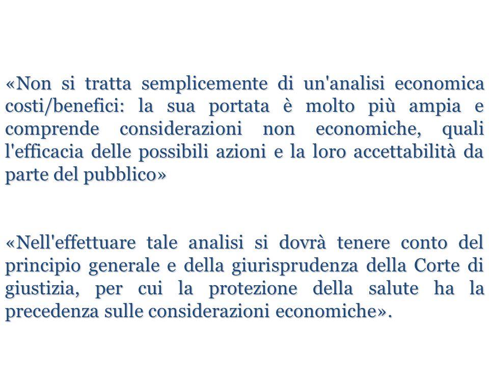 «Non si tratta semplicemente di un'analisi economica costi/benefici: la sua portata è molto più ampia e comprende considerazioni non economiche, quali