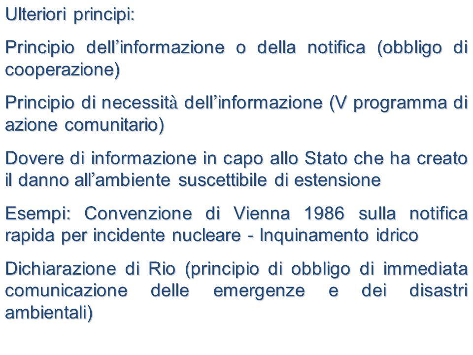 Ulteriori principi: Principio dell ' informazione o della notifica (obbligo di cooperazione) Principio di necessit à dell ' informazione (V programma