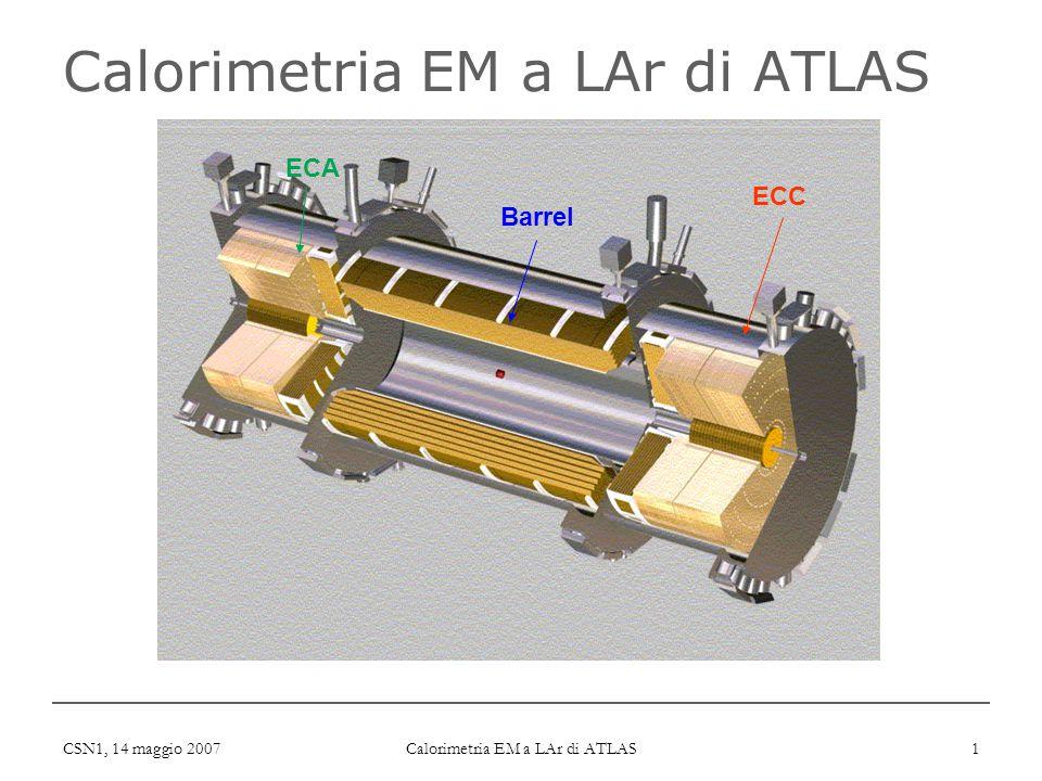CSN1, 14 maggio 2007 Calorimetria EM a LAr di ATLAS 1 ECA Barrel ECC