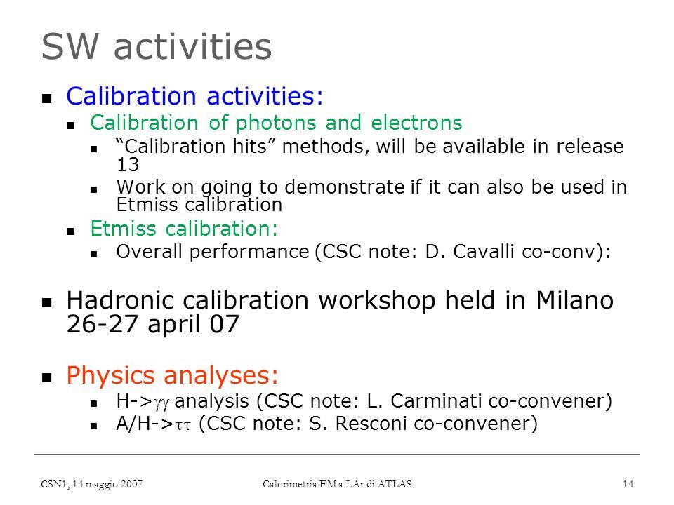"CSN1, 14 maggio 2007 Calorimetria EM a LAr di ATLAS 14 SW activities Calibration activities: Calibration of photons and electrons ""Calibration hits"" m"