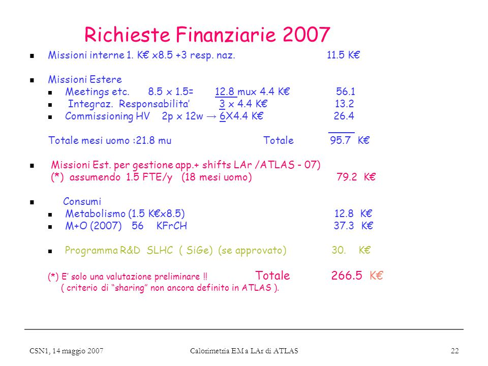CSN1, 14 maggio 2007 Calorimetria EM a LAr di ATLAS 22 Richieste Finanziarie 2007 Missioni interne 1. K€ x8.5 +3 resp. naz. 11.5 K€ Missioni Estere Me