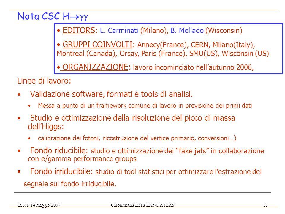 CSN1, 14 maggio 2007 Calorimetria EM a LAr di ATLAS 31 Linee di lavoro: Validazione software, formati e tools di analisi. Messa a punto di un framewor