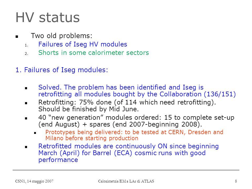 CSN1, 14 maggio 2007 Calorimetria EM a LAr di ATLAS 8 HV status Two old problems: 1. Failures of Iseg HV modules 2. Shorts in some calorimeter sectors