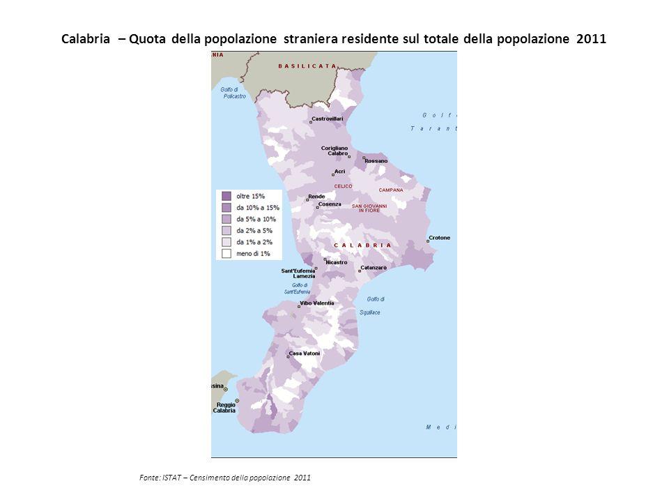 Calabria – Quota della popolazione straniera residente sul totale della popolazione 2011 Fonte: ISTAT – Censimento della popolazione 2011