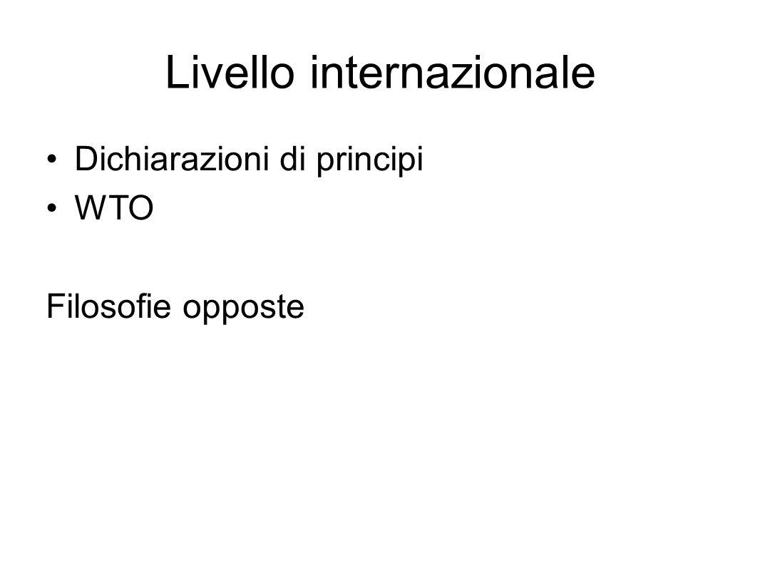 Livello internazionale Dichiarazioni di principi WTO Filosofie opposte