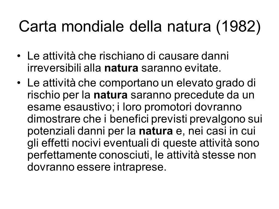 Carta mondiale della natura (1982) Le attività che rischiano di causare danni irreversibili alla natura saranno evitate. Le attività che comportano un