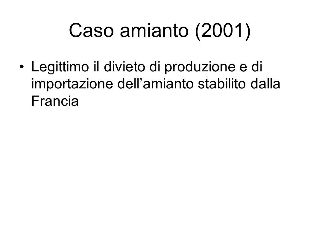 Caso amianto (2001) Legittimo il divieto di produzione e di importazione dell'amianto stabilito dalla Francia