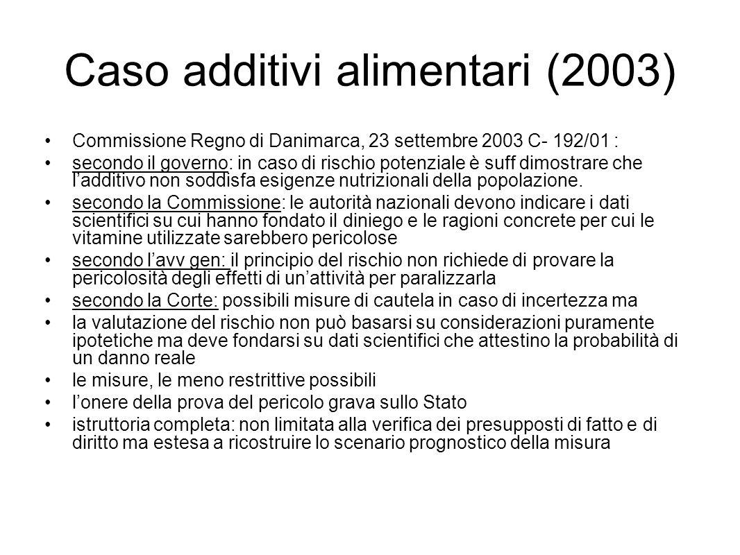 Caso additivi alimentari (2003) Commissione Regno di Danimarca, 23 settembre 2003 C- 192/01 : secondo il governo: in caso di rischio potenziale è suff dimostrare che l'additivo non soddisfa esigenze nutrizionali della popolazione.