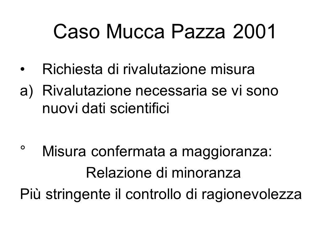 Caso Mucca Pazza 2001 Richiesta di rivalutazione misura a)Rivalutazione necessaria se vi sono nuovi dati scientifici ° Misura confermata a maggioranza