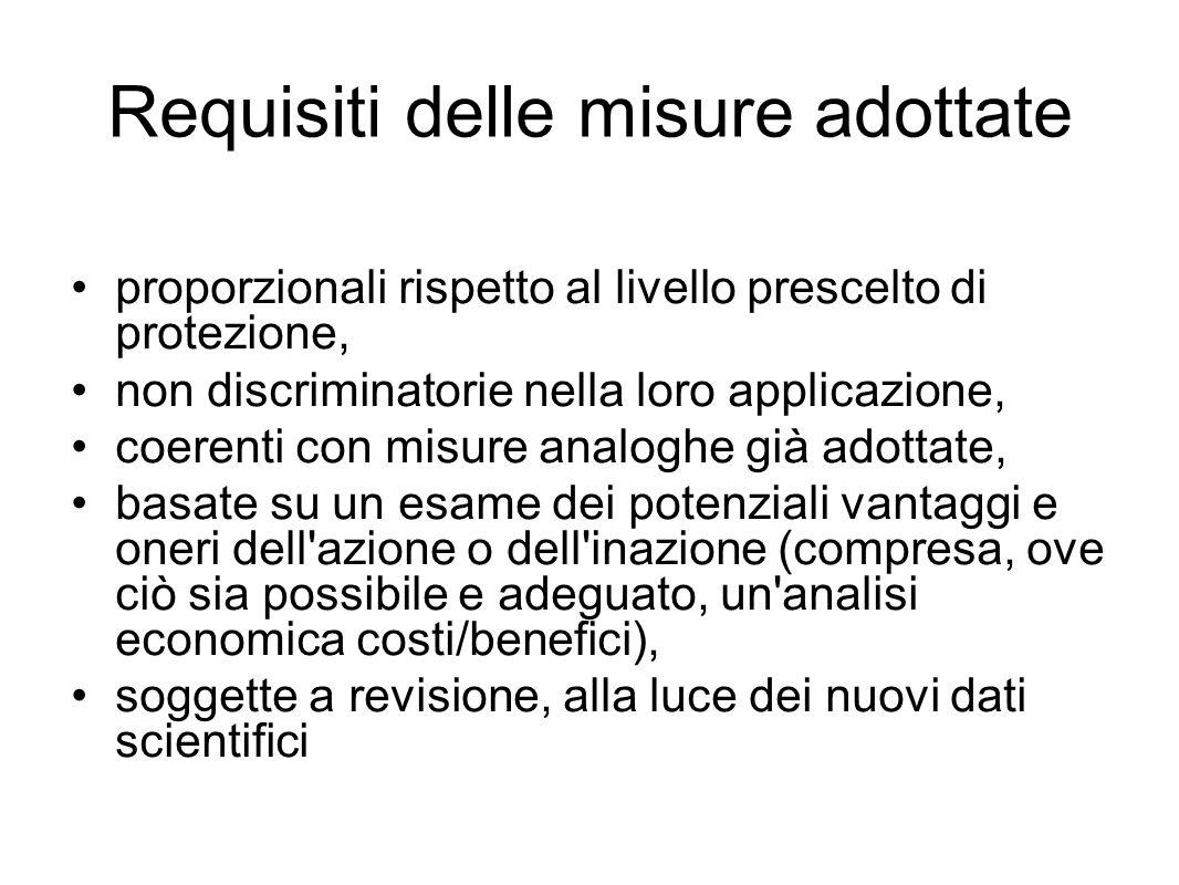 Requisiti delle misure adottate proporzionali rispetto al livello prescelto di protezione, non discriminatorie nella loro applicazione, coerenti con m