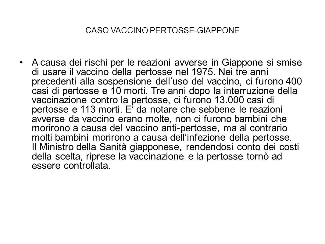 CASO VACCINO PERTOSSE-GIAPPONE A causa dei rischi per le reazioni avverse in Giappone si smise di usare il vaccino della pertosse nel 1975. Nei tre an