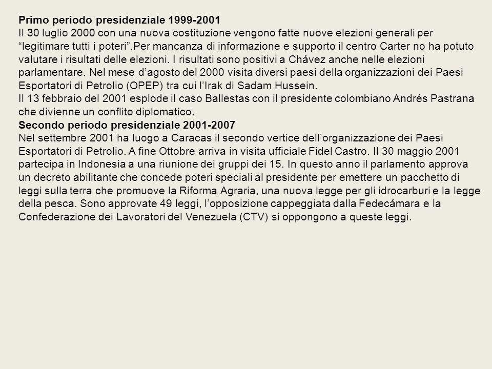 Primo periodo presidenziale 1999-2001 Il 30 luglio 2000 con una nuova costituzione vengono fatte nuove elezioni generali per legitimare tutti i poteri .Per mancanza di informazione e supporto il centro Carter no ha potuto valutare i risultati delle elezioni.