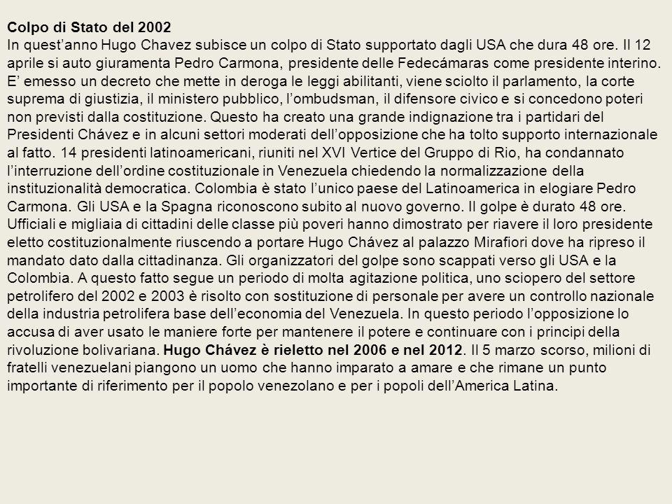 Colpo di Stato del 2002 In quest'anno Hugo Chavez subisce un colpo di Stato supportato dagli USA che dura 48 ore.