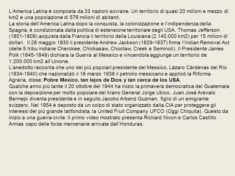 L'America Latina è composta da 33 nazioni sovrane.