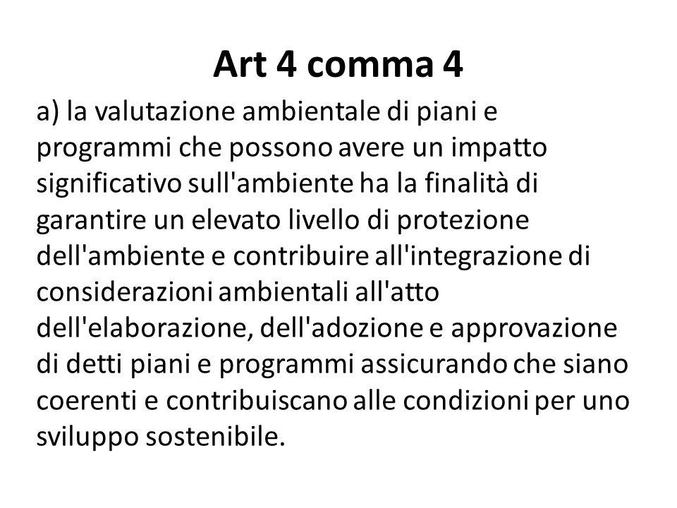 Art 4 comma 4 a) la valutazione ambientale di piani e programmi che possono avere un impatto significativo sull'ambiente ha la finalità di garantire u