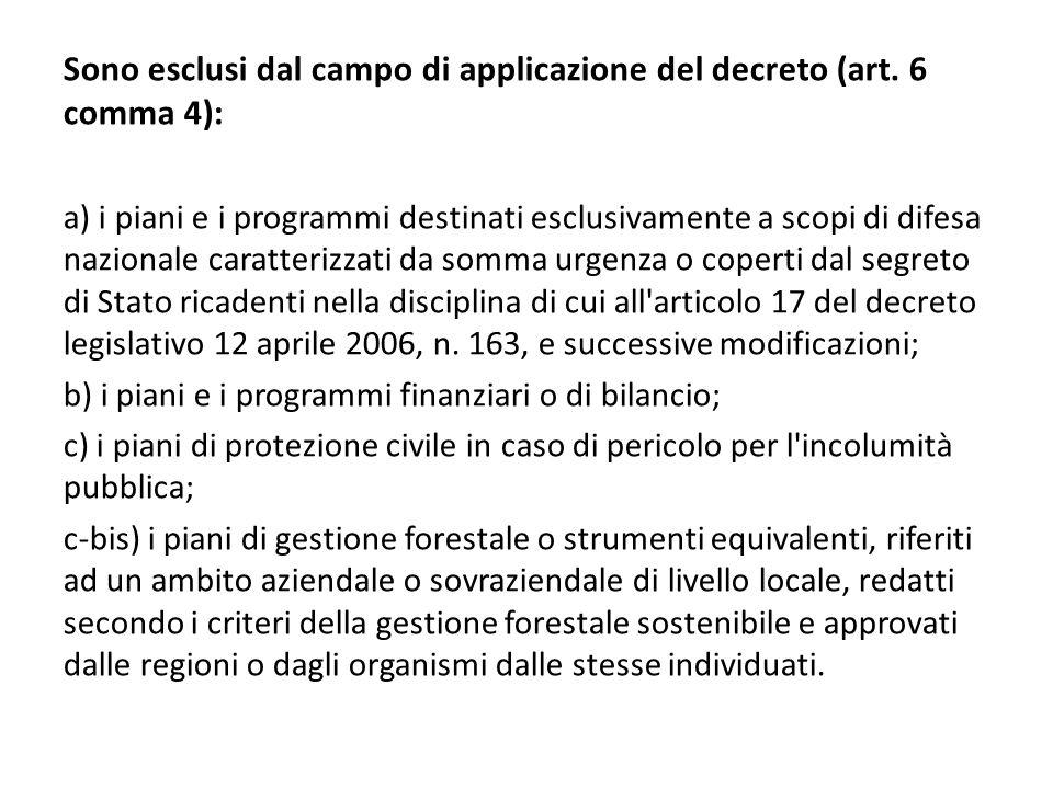 Sono esclusi dal campo di applicazione del decreto (art. 6 comma 4): a) i piani e i programmi destinati esclusivamente a scopi di difesa nazionale car