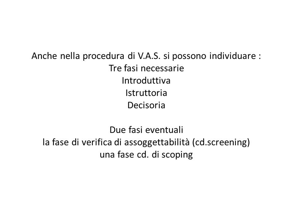 Anche nella procedura di V.A.S. si possono individuare : Tre fasi necessarie Introduttiva Istruttoria Decisoria Due fasi eventuali la fase di verifica