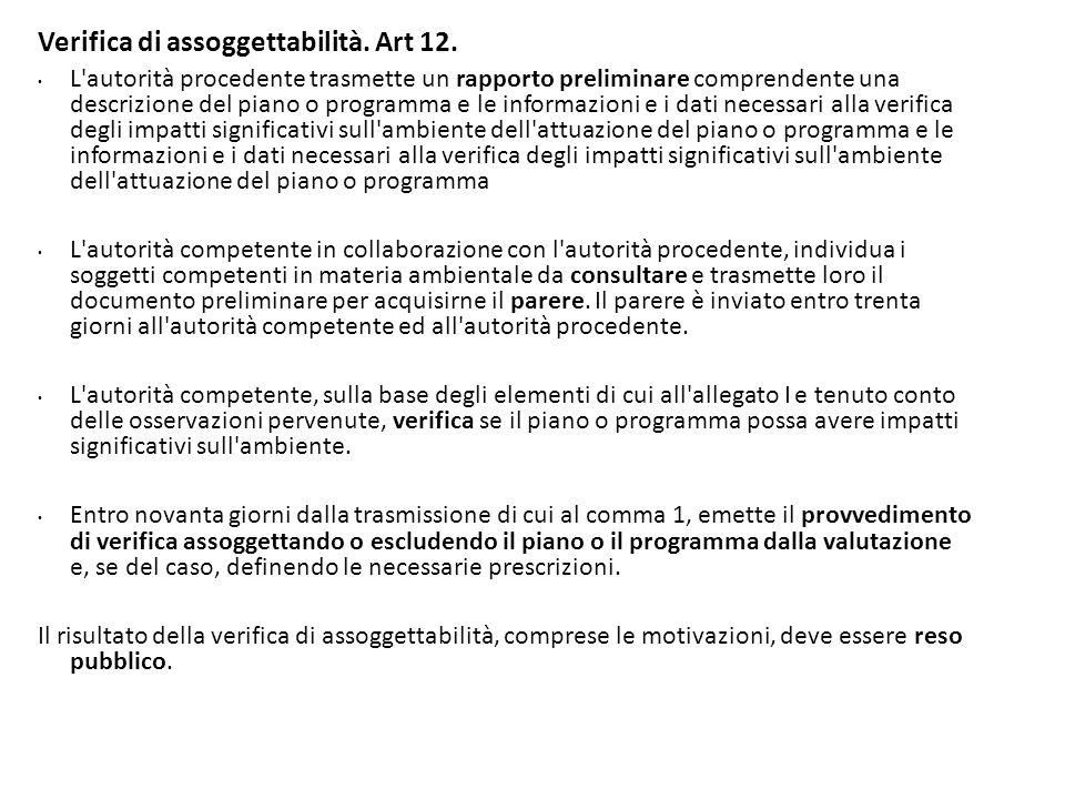 Verifica di assoggettabilità. Art 12. L'autorità procedente trasmette un rapporto preliminare comprendente una descrizione del piano o programma e le