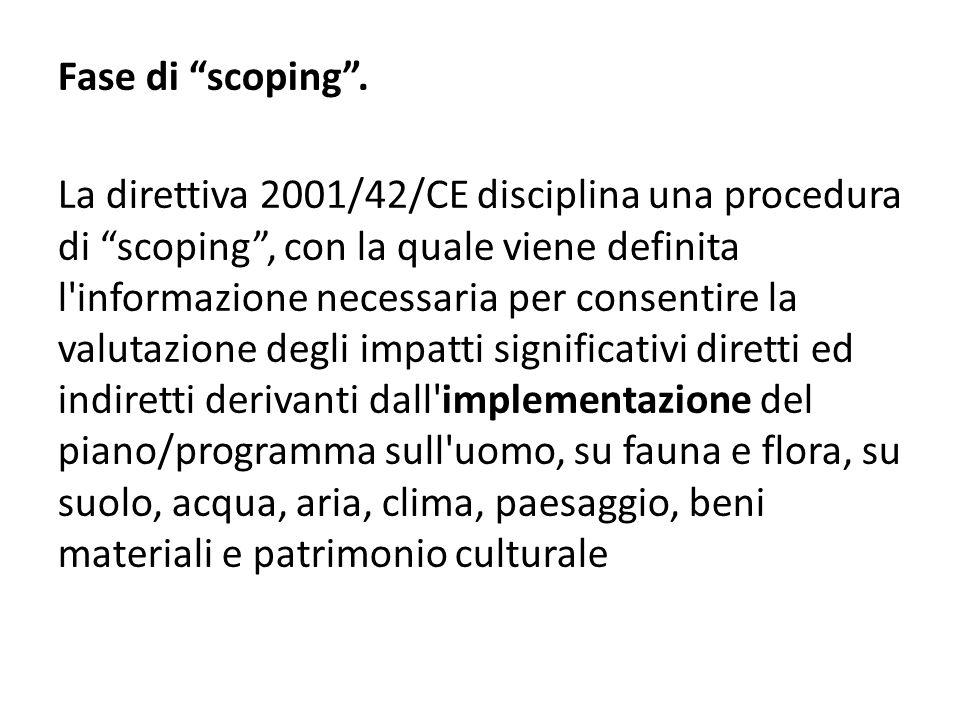 """Fase di """"scoping"""". La direttiva 2001/42/CE disciplina una procedura di """"scoping"""", con la quale viene definita l'informazione necessaria per consentire"""