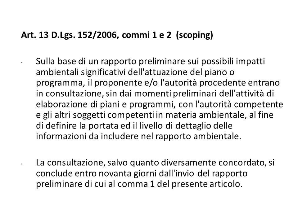 Art. 13 D.Lgs. 152/2006, commi 1 e 2 (scoping) Sulla base di un rapporto preliminare sui possibili impatti ambientali significativi dell'attuazione de